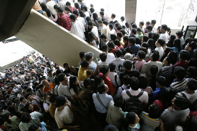 Commuters in MRT