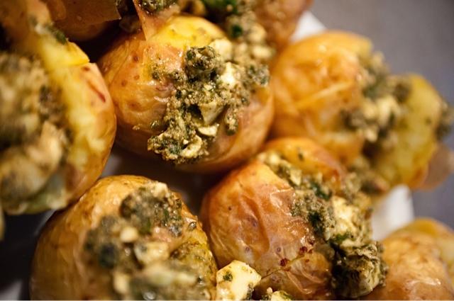 Easy Pesto Baked Potatoes