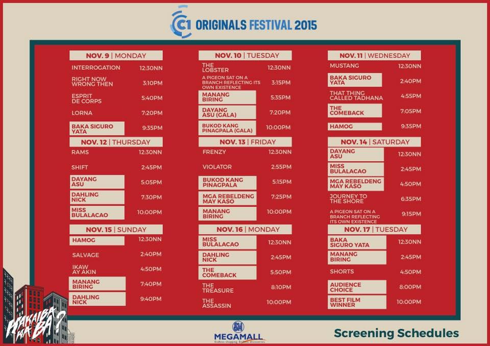 cinema one originals 2015  schedule
