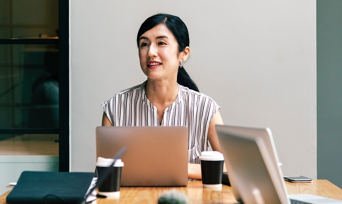 asian woman on corporate office